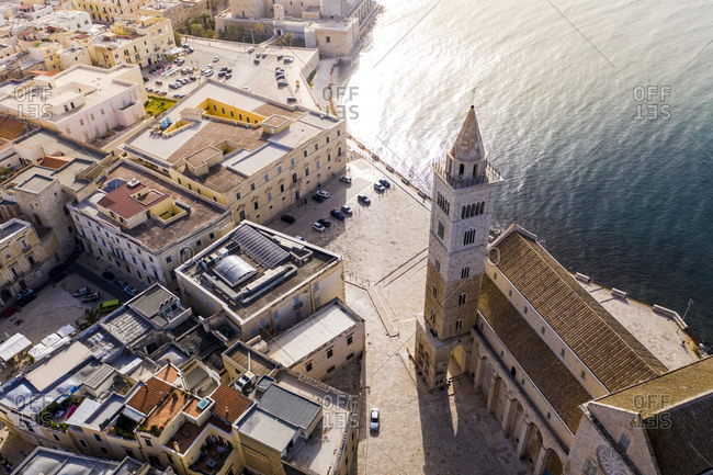 Italy- Province of Barletta-Andria-Trani- Trani- Helicopter view of Trani Cathedral in summer
