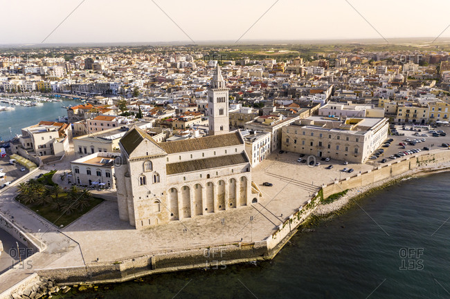 June 12, 2019: Italy- Province of Barletta-Andria-Trani- Trani- Helicopter view of Trani Cathedral in summer