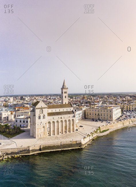 Italy- Province of Barletta-Andria-Trani- Trani- Helicopter view of clear sky over Trani Cathedral at dusk