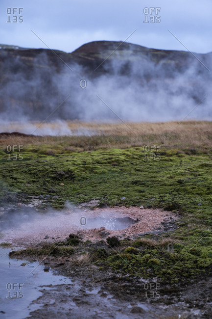 Iceland- Steaming geyser in spring