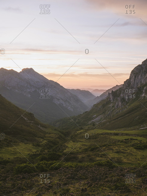 Spain- Cantabria- Valley in Picos de Europa at moody dawn