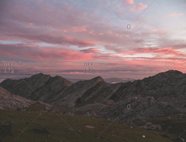Spain- Cantabria- Picos de Europa range at pink moody dawn