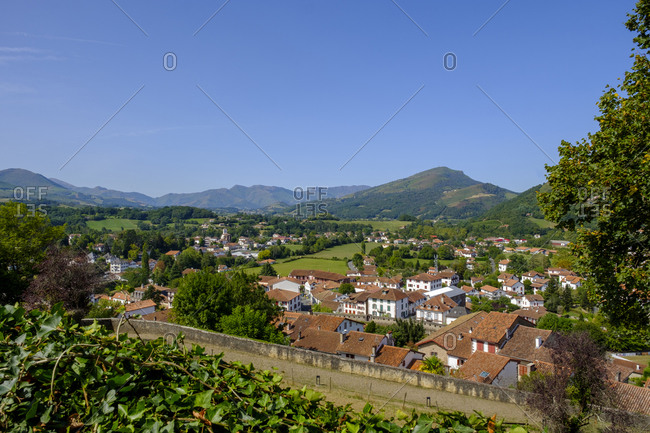 France- Pyrenees-Atlantiques- Saint-Jean-Pied-de-Port- Clear sky over old town surrounded by fortified wall