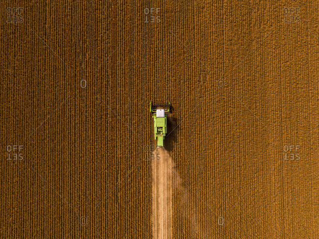 Aerial view of combine harvester on a field of soybean