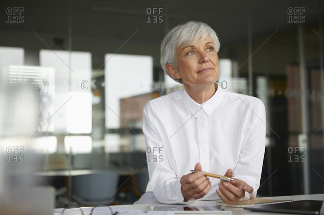 Portrait of pensive senior businesswoman at desk in her office