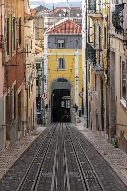 December 24, 2017: Portugal- Lisbon- Tunnel alongAscensordaBicarailway line