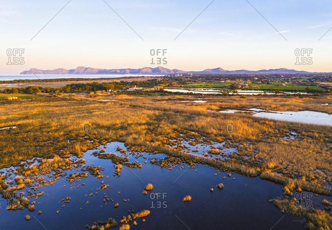 Spain- Balearic Islands- Mallorca- S'Albufera De Mallorca wetland at dusk