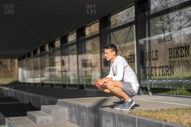 Athlete taking a break outdoors