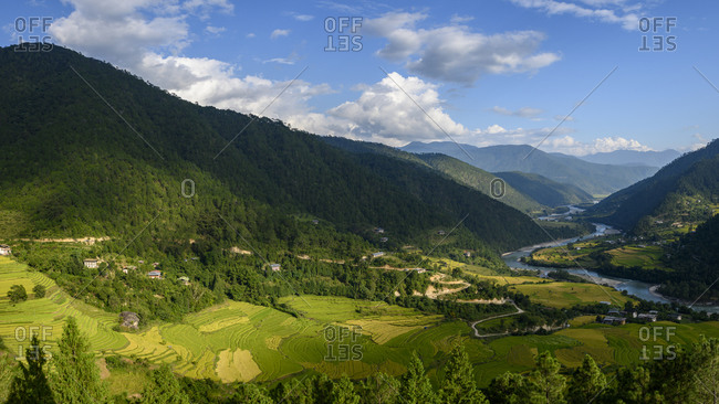 Bhutan- Yepaisa Village- Village and terraced fields in forested mountain valley