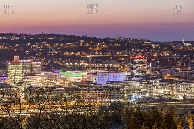 April 2, 2020: Germany- Baden-Wurttemberg- Stuttgart- Illuminated city at dusk