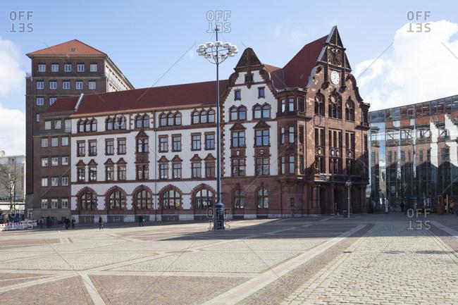 March 31, 2020: Germany- North Rhine-Westphalia- Dortmund- Friedensplatz and old town hall