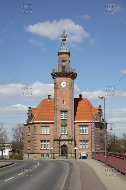 March 31, 2020: Germany- North Rhine-Westphalia- Dortmund- Facade of Altes Hafenamt Dortmund