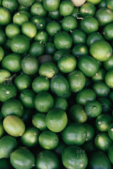 Bundle of organic lime at market stall