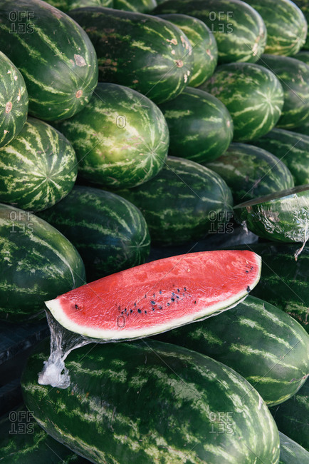 Stacks of watermelon from the farm at a produce market in Mexico