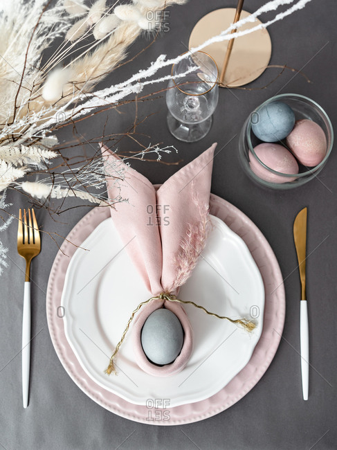 Setting Happy Christian Easter table