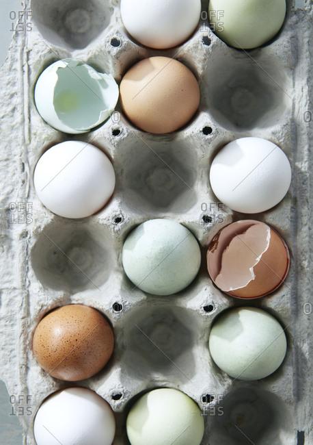 Carton of Organic Free Range Eggs Birds Eye View