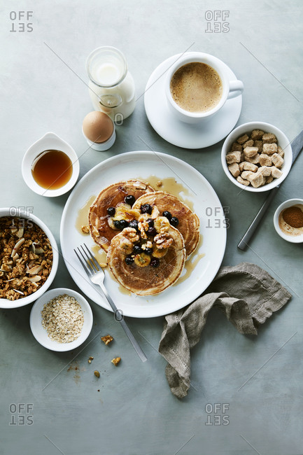 Whole Wheat Blueberry Walnut Banana Pancakes with Granola and Coffee