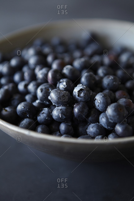 Blueberries in Bowl with Water Droplets Detail