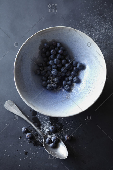 Bowl with Blueberries Spoon and Sugar
