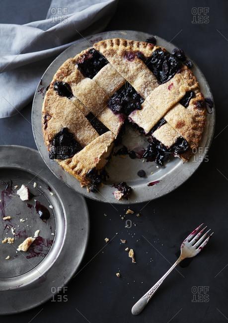 Fresh Baked Blueberry Pie Served