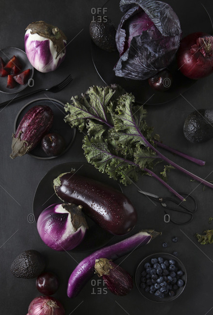Purple Vegetables and Fruits Still life