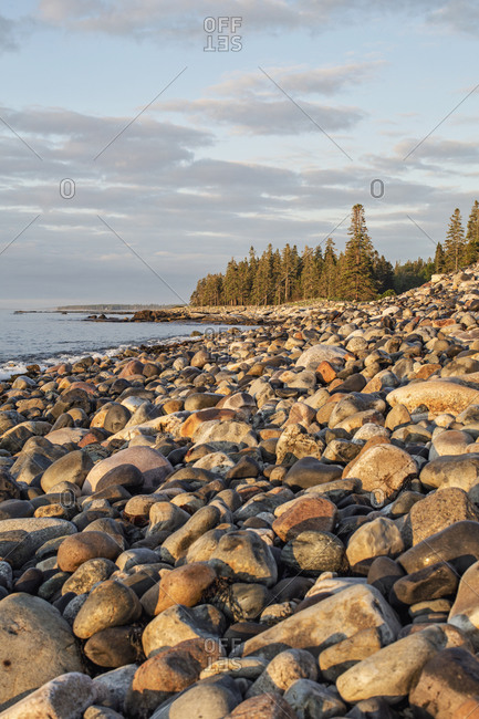 Rocky shoreline along Maine's rugged Atlantic coastline, Acadia