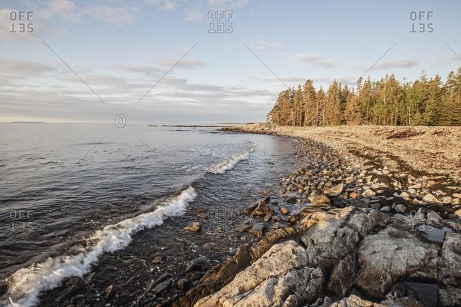 Waves lap against rocky coast at sunrise, Acadia National Park, Maine
