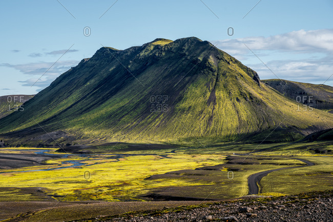 Black and green mountain landscape in the highlands of Iceland