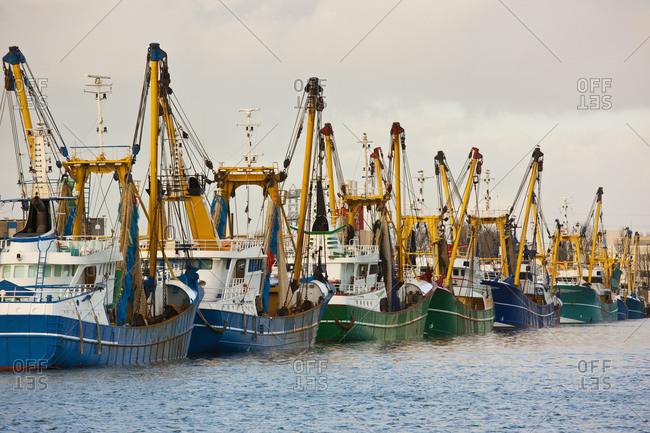 Trawler fleet docked at pier in Middelburg / Netherlands