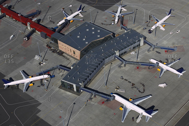 Aerial view of the international airport in Keflavik / Iceland
