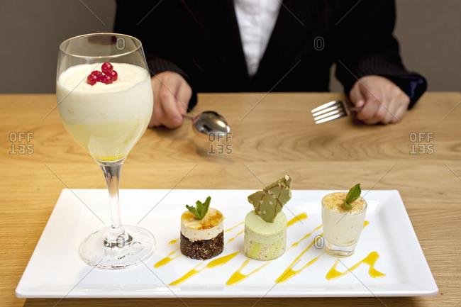 Plate of ornate desserts at luxury hotel restaurant