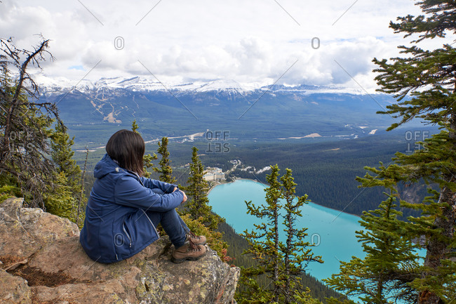 Woman resting after a hike