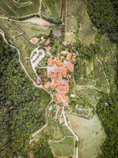 Aerial View of Volpaia, Siena, Italy. The winery that produces the wine Chianti Classico operates within the walls of the Castello di Volpaia, a fortified village of medieval origins