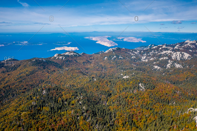 Panoramic aerial view of mountains and islands on sunny day in Stinica, Croatia