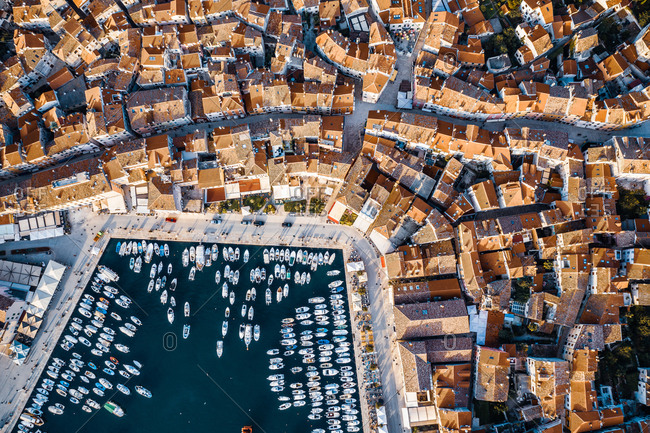 Aerial view of a jetty surrounded by houses in Rovinj, Croatia