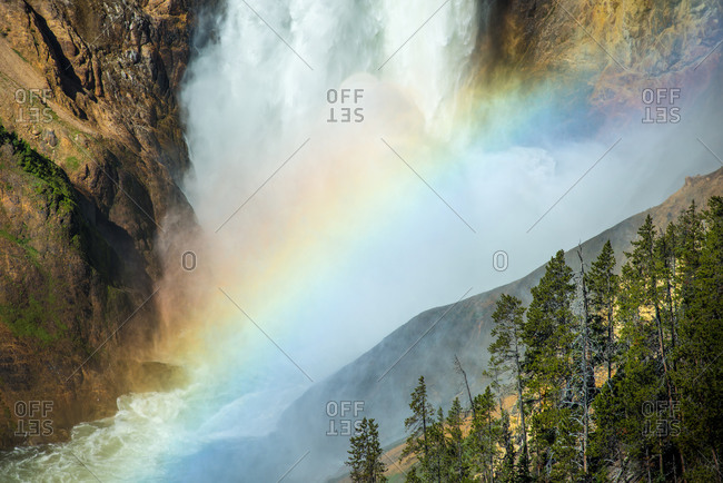 Morning view of the Lower Falls with raimbow, which only appears in Jully for a cuple of weeks for about 15 minutes each day.