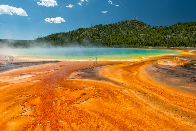 Iconic Grand Prismatic Spring in Yellowstone National Park