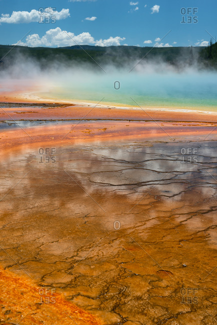 Iconic Grand Prismatic hydrothermal pool in Yellowstone National Park