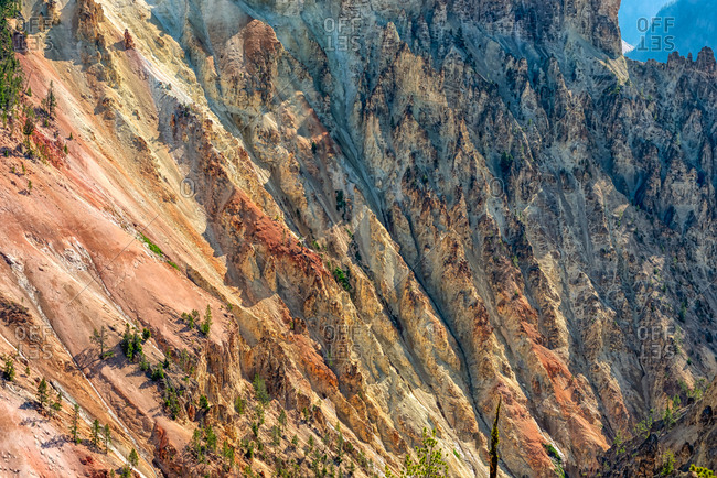 Walls of the Yellowstone Canyon in Yellowstone National Park