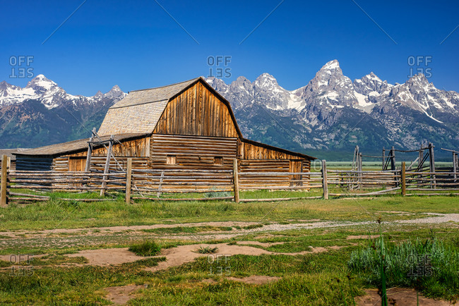 Historic Mormon Barn and the Grand Teton Range, Wyoming, USA