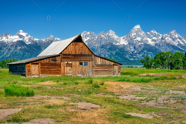 Historic Moulton Barn and the Grand Teton Range, Wyoming, USA