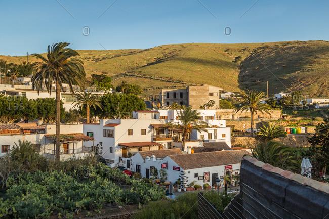 BETANCURIA, SPAIN - FEBRUARY 17 2018: Small Betancuria village in Fuerteventura, Canary Islands, Spain.