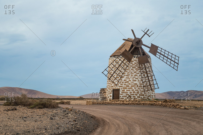 Broken windmill in El Cotillo, Fuerteventura, Canary Islands, Spain.