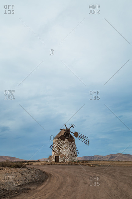 Traditional stone windmill in El Cotillo, Fuerteventura, Canary Islands, Spain.