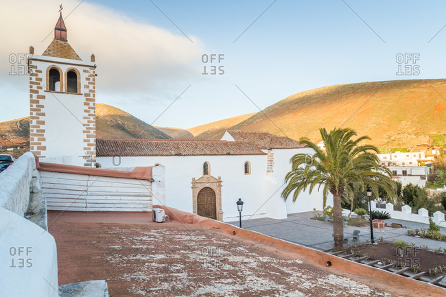 Small Betancuria village and its Santa Maria Church in Fuerteventura, Canary Islands, Spain.