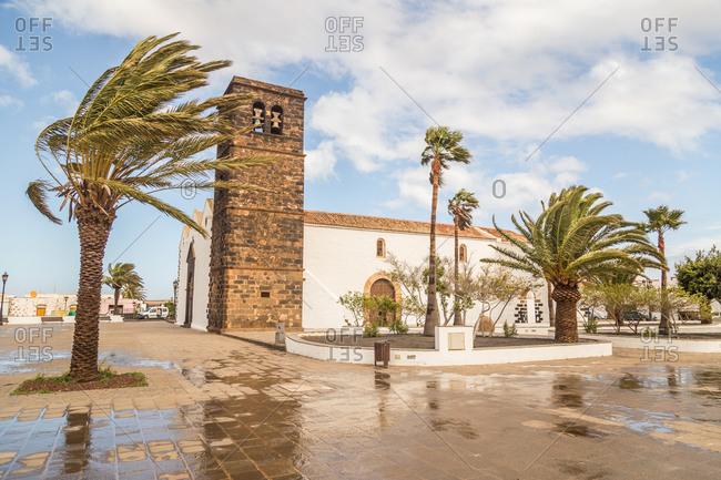 Old traditional Nuestra Senora de la Candelaria church in La Oliva in Fuerteventura, Canary Islands, Spain.