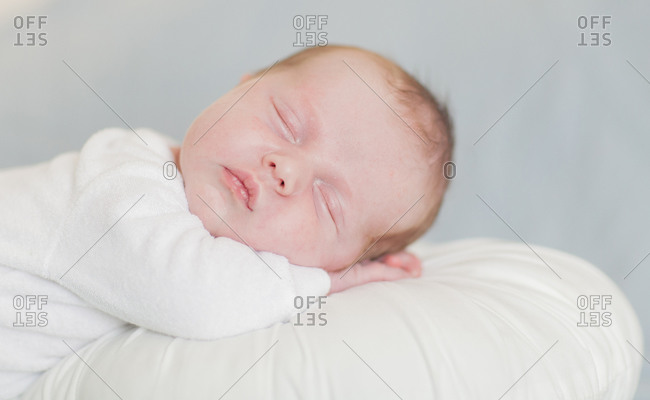 Newborn baby boy sleeping up close