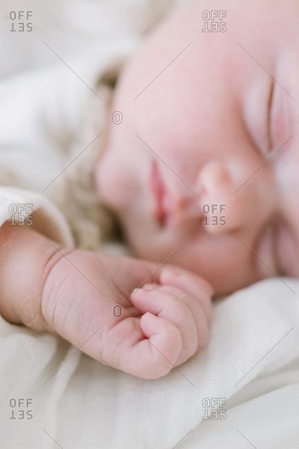 Closeup of a sleeping newborn's hand