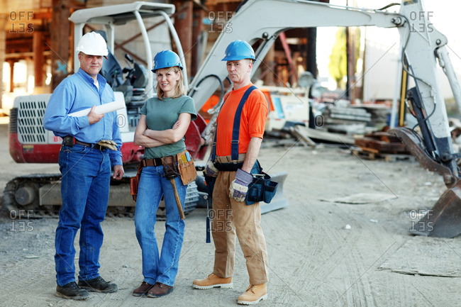 Group of construction workers looking at camera
