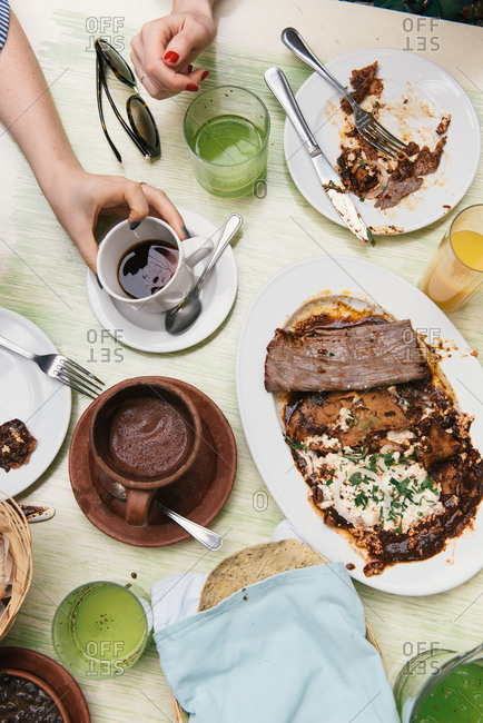 Friends gather for a decadent brunch at a Mexican restaurant